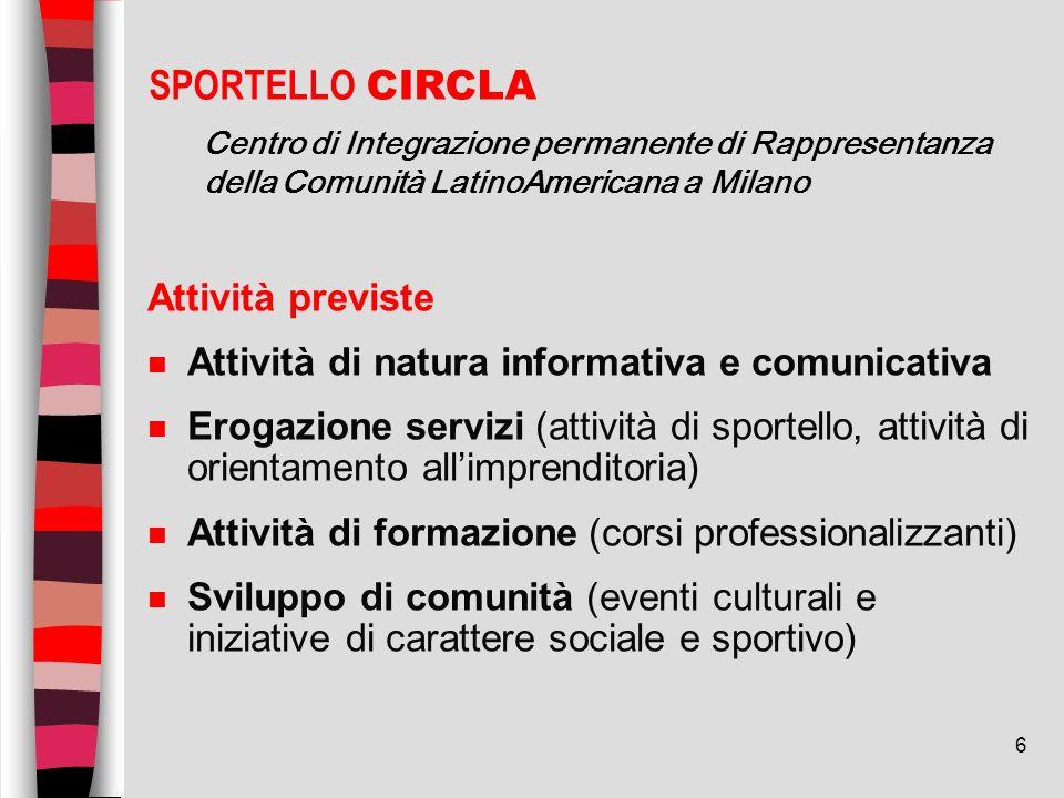 6 Attività previste n Attività di natura informativa e comunicativa n Erogazione servizi (attività di sportello, attività di orientamento allimprendit