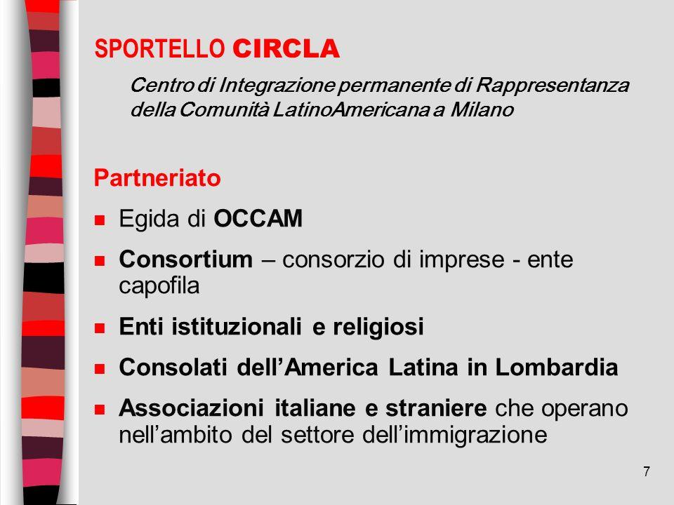 7 Partneriato n Egida di OCCAM n Consortium – consorzio di imprese - ente capofila n Enti istituzionali e religiosi n Consolati dellAmerica Latina in