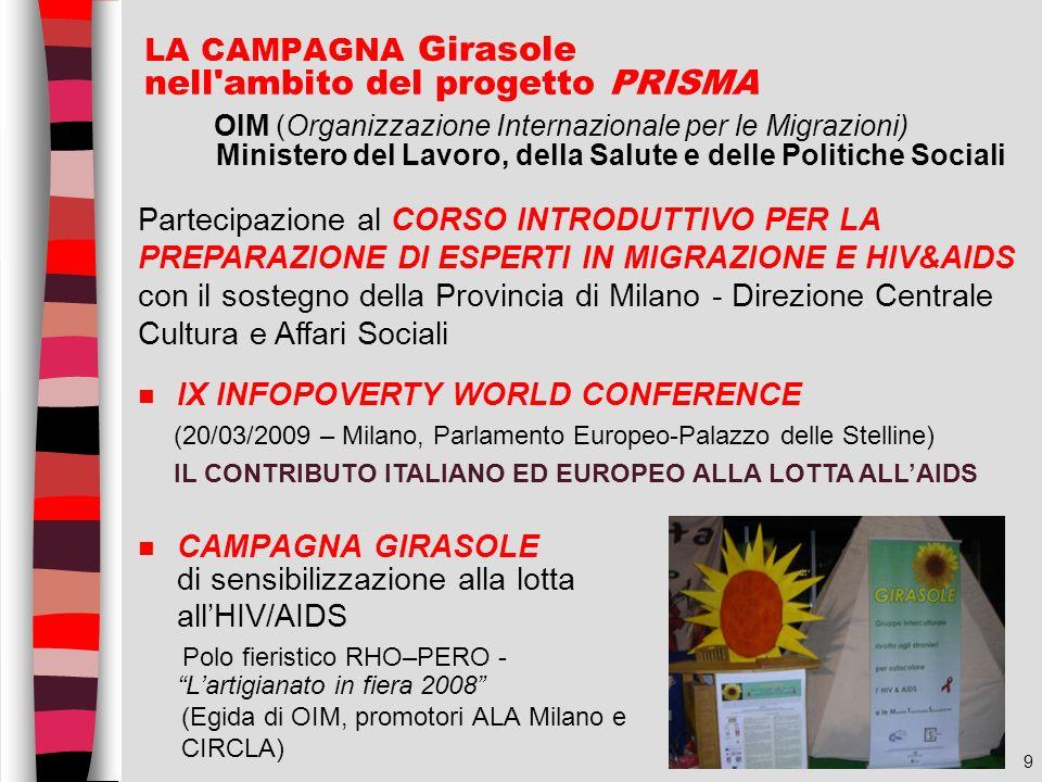 9 LA CAMPAGNA Girasole nell'ambito del progetto PRISMA OIM (Organizzazione Internazionale per le Migrazioni) Ministero del Lavoro, della Salute e dell