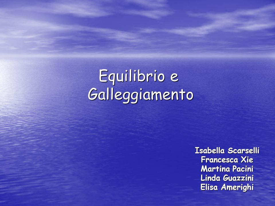 Equilibrio e Galleggiamento Isabella Scarselli Francesca Xie Martina Pacini Linda Guazzini Elisa Amerighi