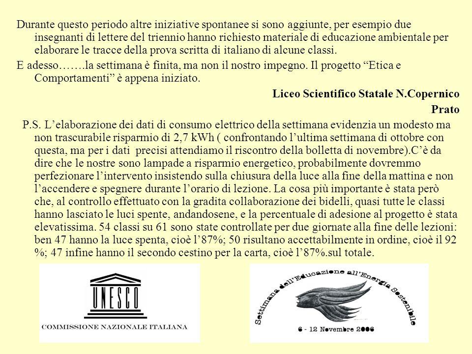 Durante questo periodo altre iniziative spontanee si sono aggiunte, per esempio due insegnanti di lettere del triennio hanno richiesto materiale di educazione ambientale per elaborare le tracce della prova scritta di italiano di alcune classi.