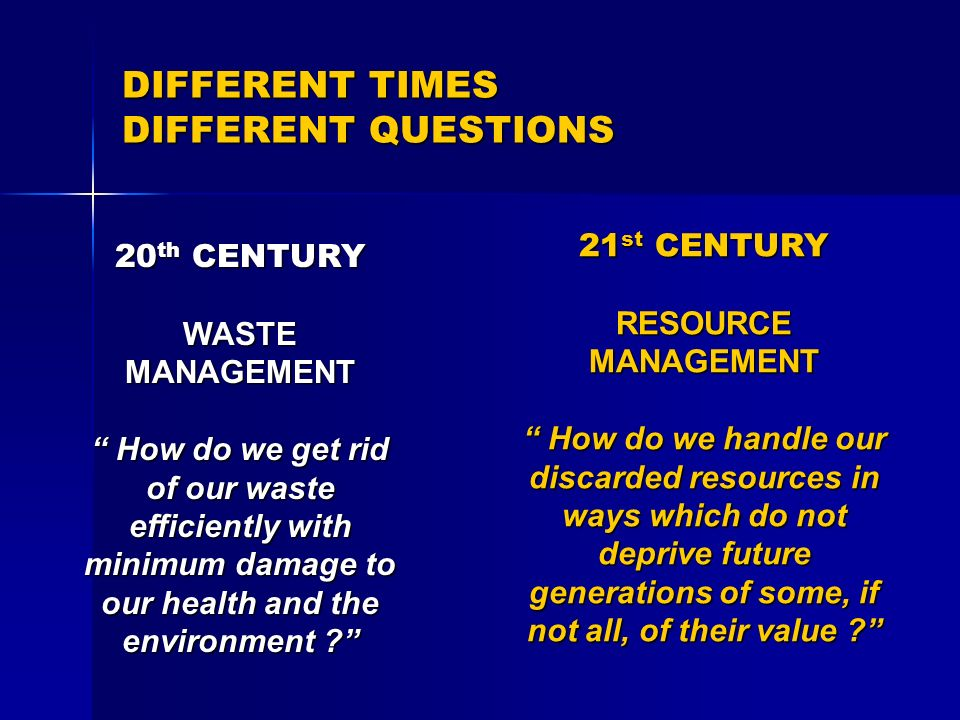 DIFFERENT TIMES DIFFERENT QUESTIONS 20 th CENTURY WASTE MANAGEMENT How do we get rid of our waste efficiently with minimum damage to our health and th