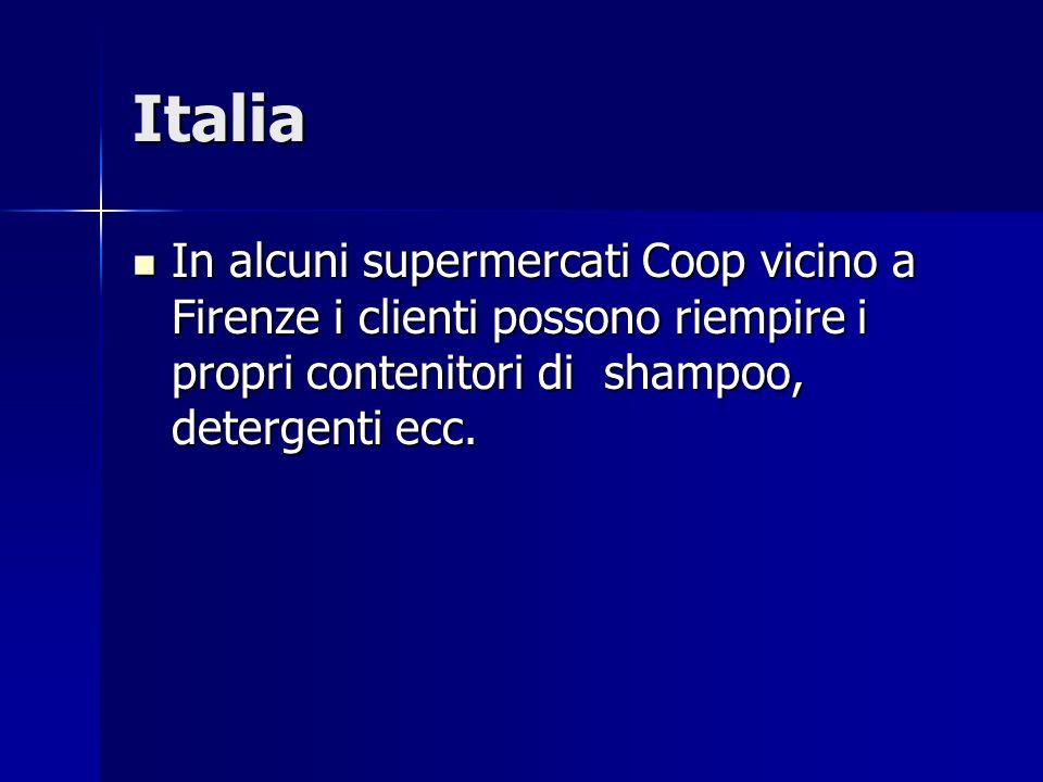 Italia In alcuni supermercati Coop vicino a Firenze i clienti possono riempire i propri contenitori di shampoo, detergenti ecc.