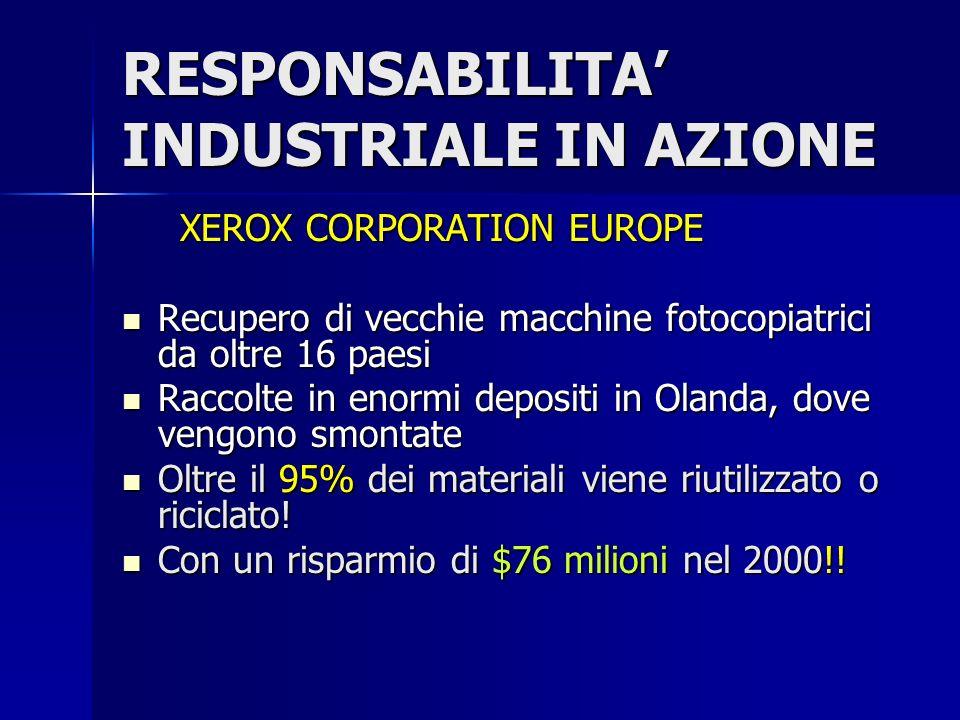 RESPONSABILITA INDUSTRIALE IN AZIONE XEROX CORPORATION EUROPE XEROX CORPORATION EUROPE Recupero di vecchie macchine fotocopiatrici da oltre 16 paesi Recupero di vecchie macchine fotocopiatrici da oltre 16 paesi Raccolte in enormi depositi in Olanda, dove vengono smontate Raccolte in enormi depositi in Olanda, dove vengono smontate Oltre il 95% dei materiali viene riutilizzato o riciclato.