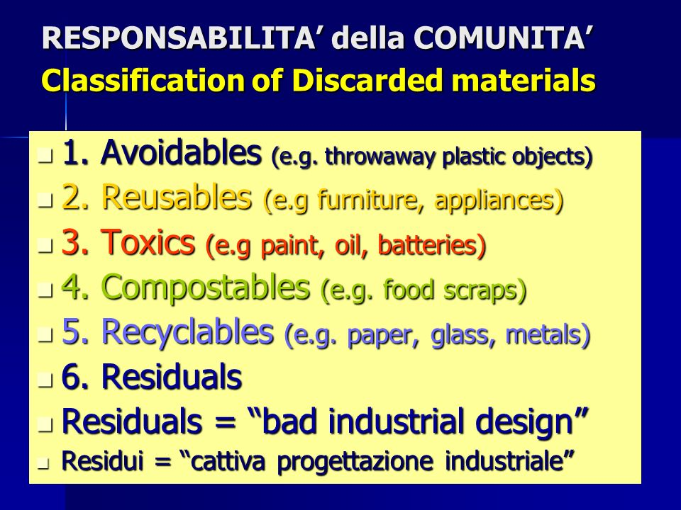 RESPONSABILITA della COMUNITA Classification of Discarded materials 1.