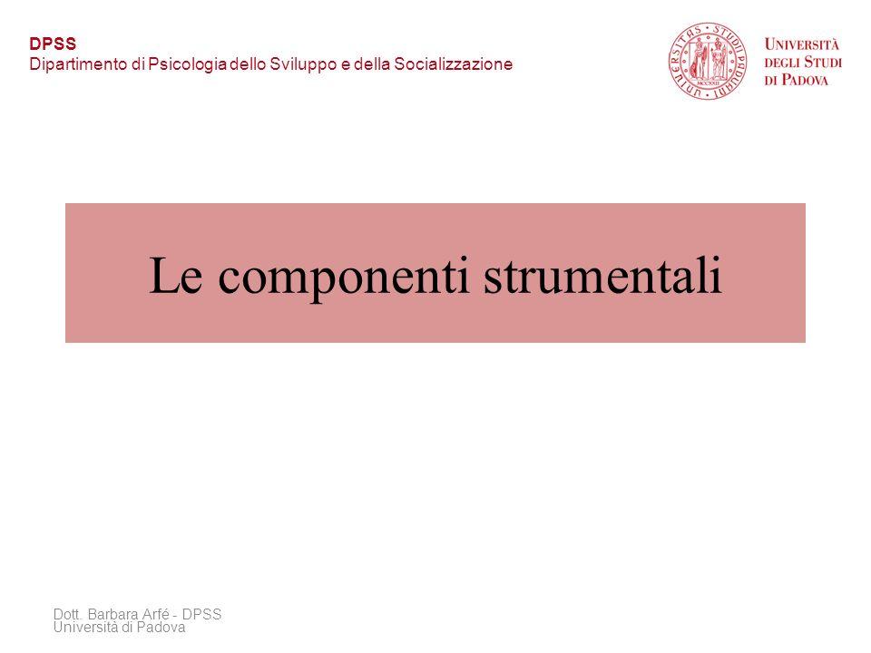 Le componenti strumentali Dott. Barbara Arfé - DPSS Università di Padova DPSS Dipartimento di Psicologia dello Sviluppo e della Socializzazione