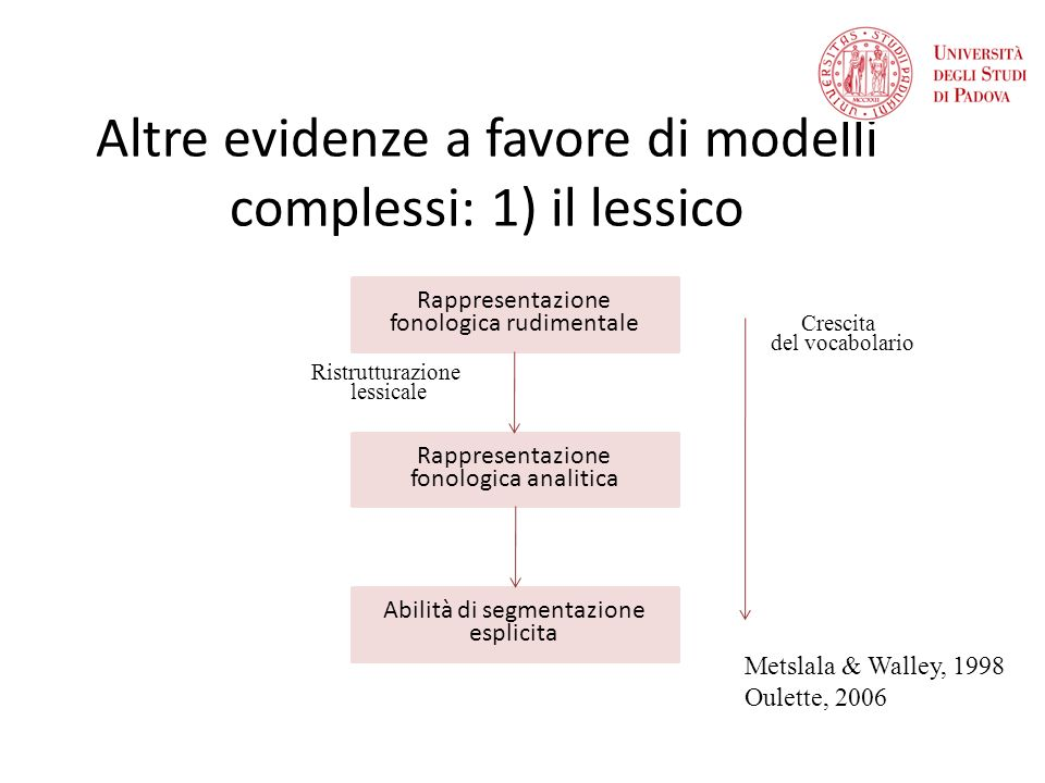 Altre evidenze a favore di modelli complessi: 1) il lessico Rappresentazione fonologica rudimentale Rappresentazione fonologica analitica Abilità di segmentazione esplicita Ristrutturazione lessicale Crescita del vocabolario Metslala & Walley, 1998 Oulette, 2006