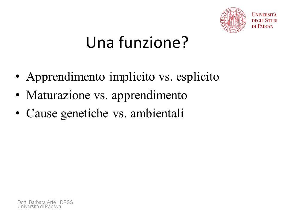 Una funzione.Apprendimento implicito vs. esplicito Maturazione vs.