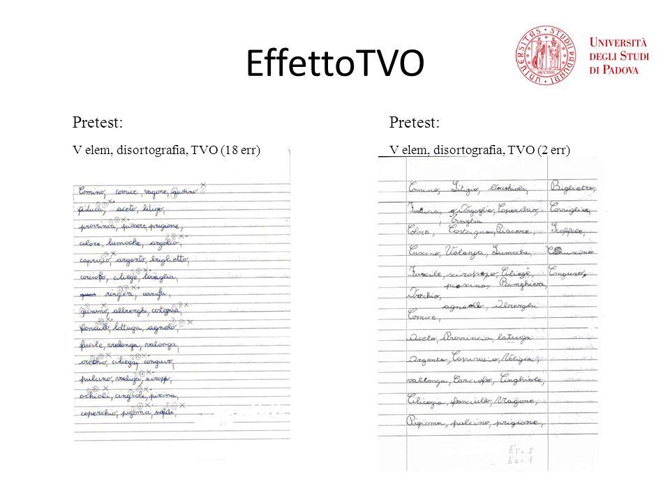 EffettoTVO Pretest: V elem, disortografia, TVO (18 err) Pretest: V elem, disortografia, TVO (2 err)