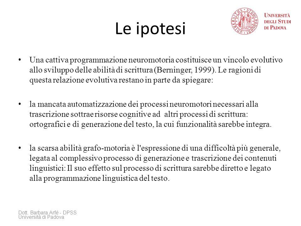 Le ipotesi Una cattiva programmazione neuromotoria costituisce un vincolo evolutivo allo sviluppo delle abilità di scrittura (Berninger, 1999).