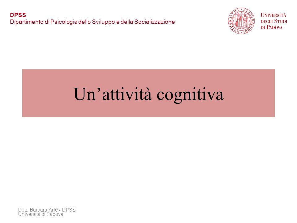 Unattività cognitiva Dott. Barbara Arfé - DPSS Università di Padova DPSS Dipartimento di Psicologia dello Sviluppo e della Socializzazione