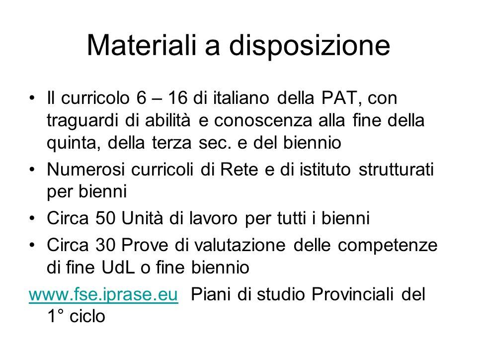 Materiali a disposizione Il curricolo 6 – 16 di italiano della PAT, con traguardi di abilità e conoscenza alla fine della quinta, della terza sec. e d