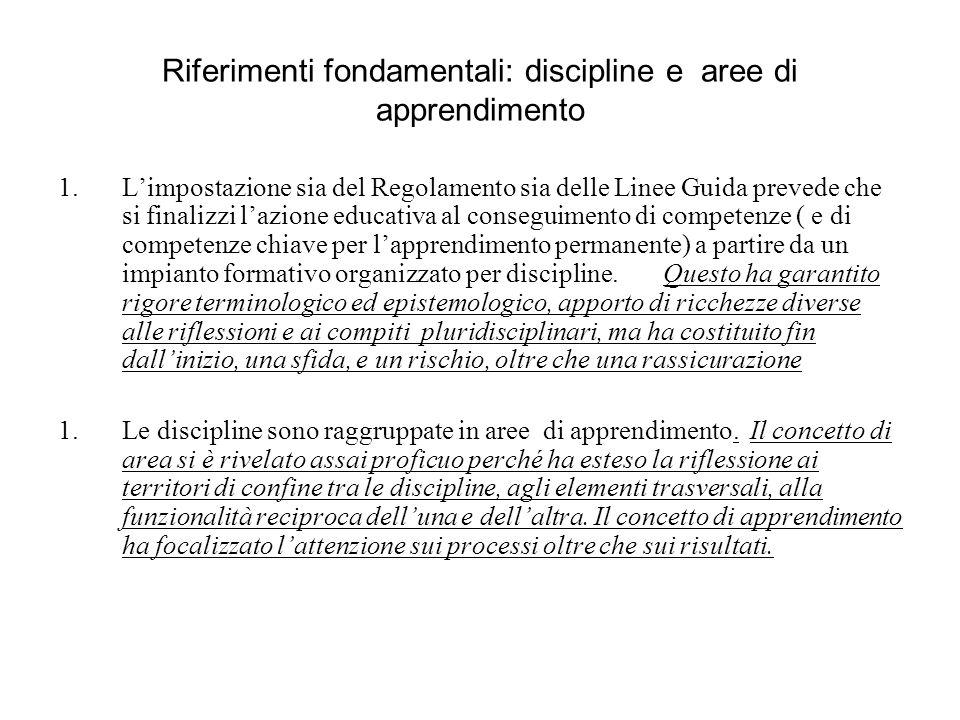 Riferimenti fondamentali: discipline e aree di apprendimento 1.Limpostazione sia del Regolamento sia delle Linee Guida prevede che si finalizzi lazion