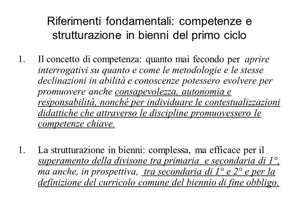 Riferimenti fondamentali: competenze e strutturazione in bienni del primo ciclo 1.Il concetto di competenza: quanto mai fecondo per aprire interrogati