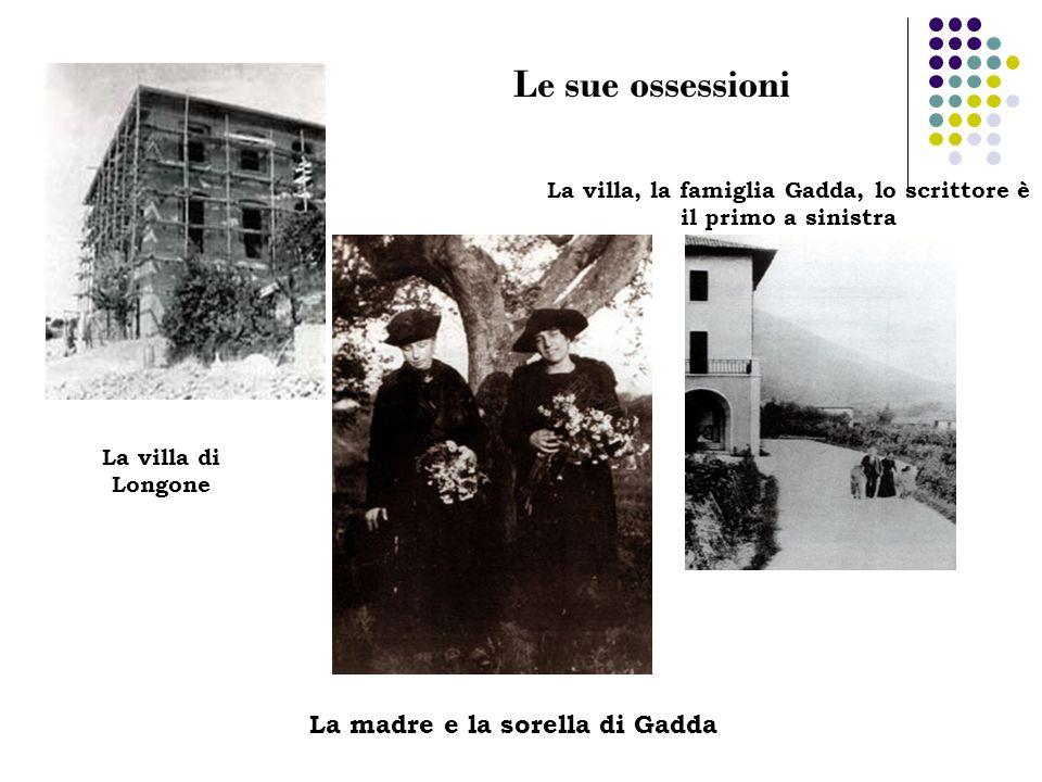 La villa di Longone La villa, la famiglia Gadda, lo scrittore è il primo a sinistra La madre e la sorella di Gadda Le sue ossessioni