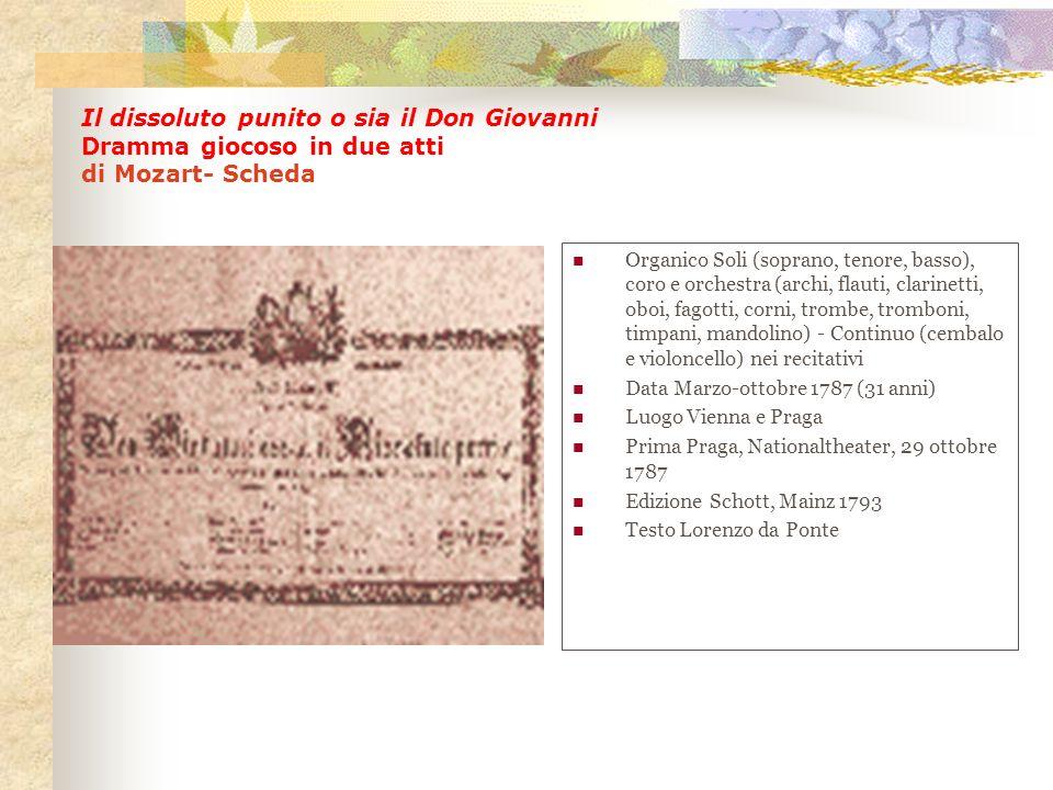 Il dissoluto punito o sia il Don Giovanni Dramma giocoso in due atti di Mozart- Scheda Organico Soli (soprano, tenore, basso), coro e orchestra (archi
