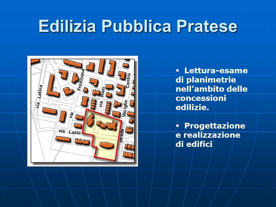 Edilizia Pubblica Pratese Lettura-esame di planimetrie nellambito delle concessioni edilizie. Progettazione e realizzazione di edifici