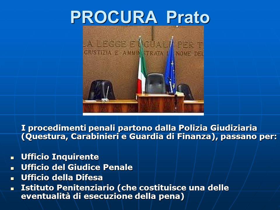 PROCURA Prato I procedimenti penali partono dalla Polizia Giudiziaria (Questura, Carabinieri e Guardia di Finanza), passano per: I procedimenti penali