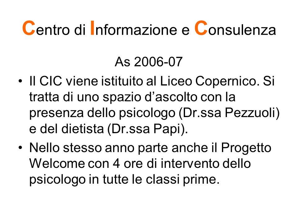 C entro di I nformazione e C onsulenza As 2006-07 Il CIC viene istituito al Liceo Copernico. Si tratta di uno spazio dascolto con la presenza dello ps