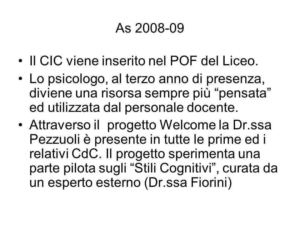 As 2008-09 Il CIC viene inserito nel POF del Liceo. Lo psicologo, al terzo anno di presenza, diviene una risorsa sempre più pensata ed utilizzata dal