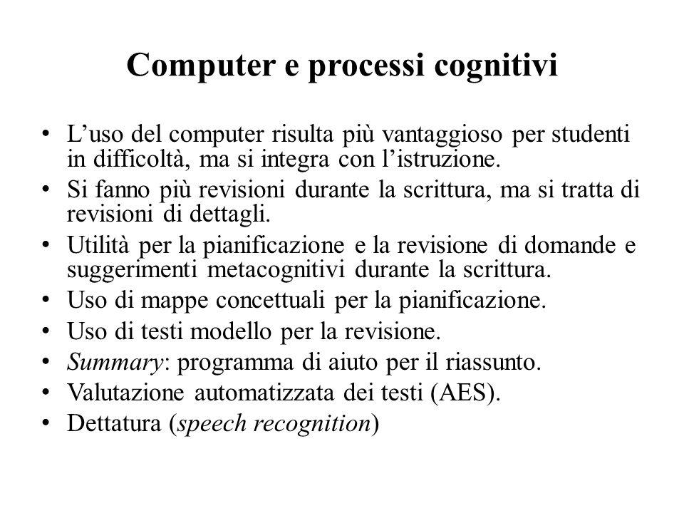 Computer e processi cognitivi Luso del computer risulta più vantaggioso per studenti in difficoltà, ma si integra con listruzione. Si fanno più revisi
