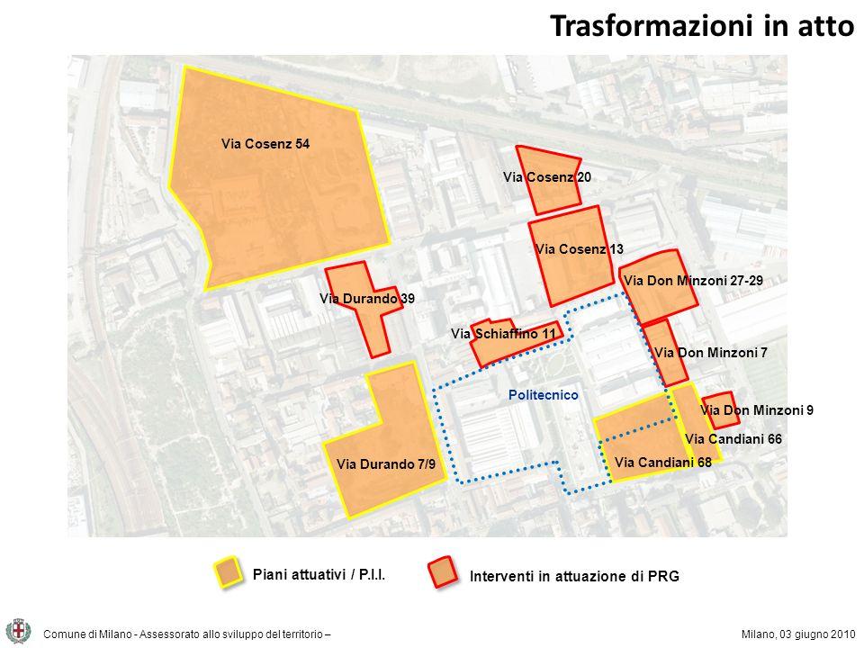 Trasformazioni in atto Interventi in attuazione di PRG Piani attuativi / P.I.I. Comune di Milano - Assessorato allo sviluppo del territorio –Milano, 0