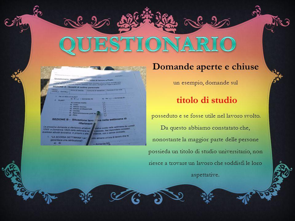Domande aperte e chiuse un esempio, domande sul titolo di studio posseduto e se fosse utile nel lavoro svolto.