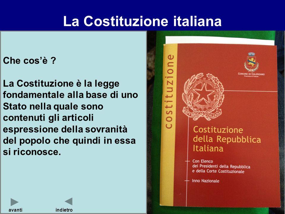 Che cosè ? La Costituzione è la legge fondamentale alla base di uno Stato nella quale sono contenuti gli articoli espressione della sovranità del popo