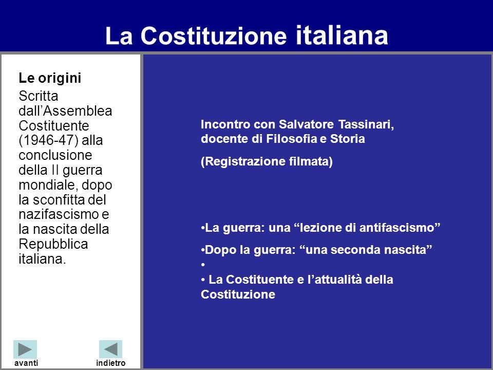 La Costituzione italiana avantiindietro Incontro con Salvatore Tassinari, docente di Filosofia e Storia (Registrazione filmata) La guerra: una lezione