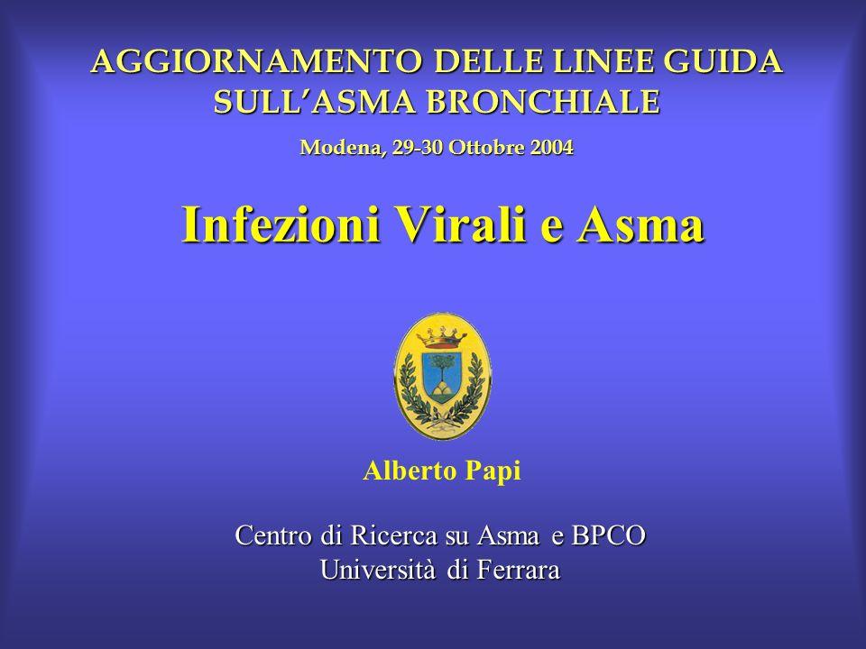Infezioni Virali e Asma Alberto Papi Centro di Ricerca su Asma e BPCO Università di Ferrara AGGIORNAMENTO DELLE LINEE GUIDA SULLASMA BRONCHIALE Modena