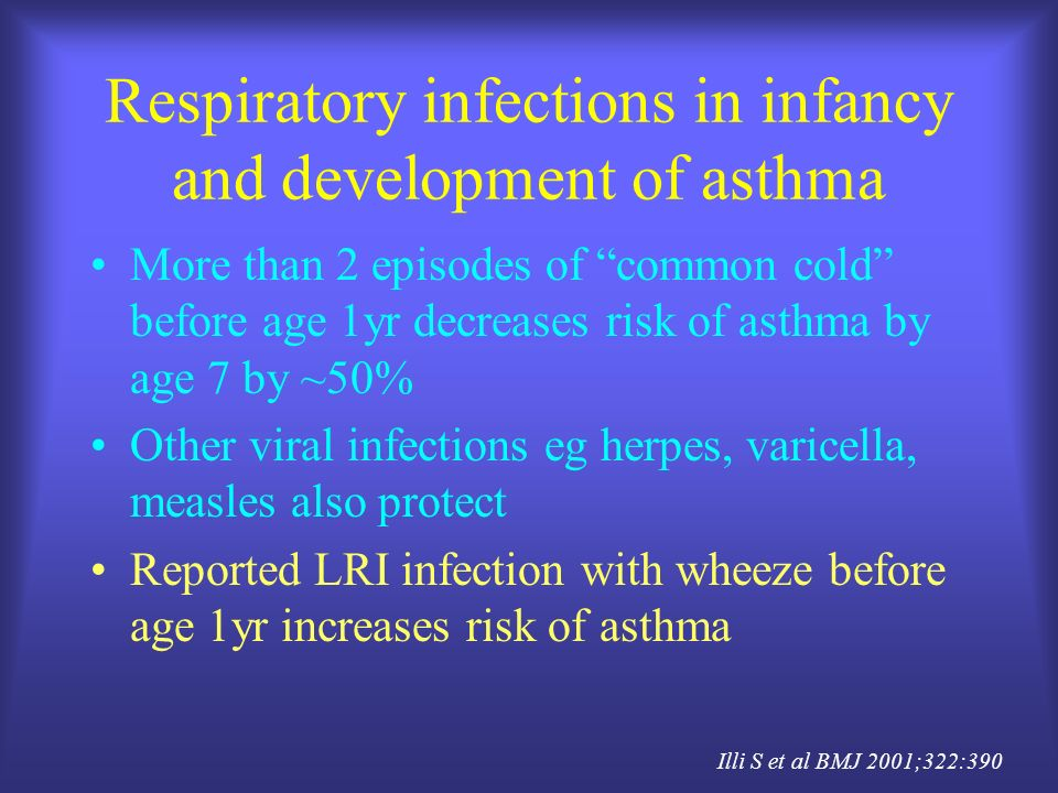 Respiratory infections in infancy and development of asthma More than 2 episodes of common cold before age 1yr decreases risk of asthma by age 7 by ~5