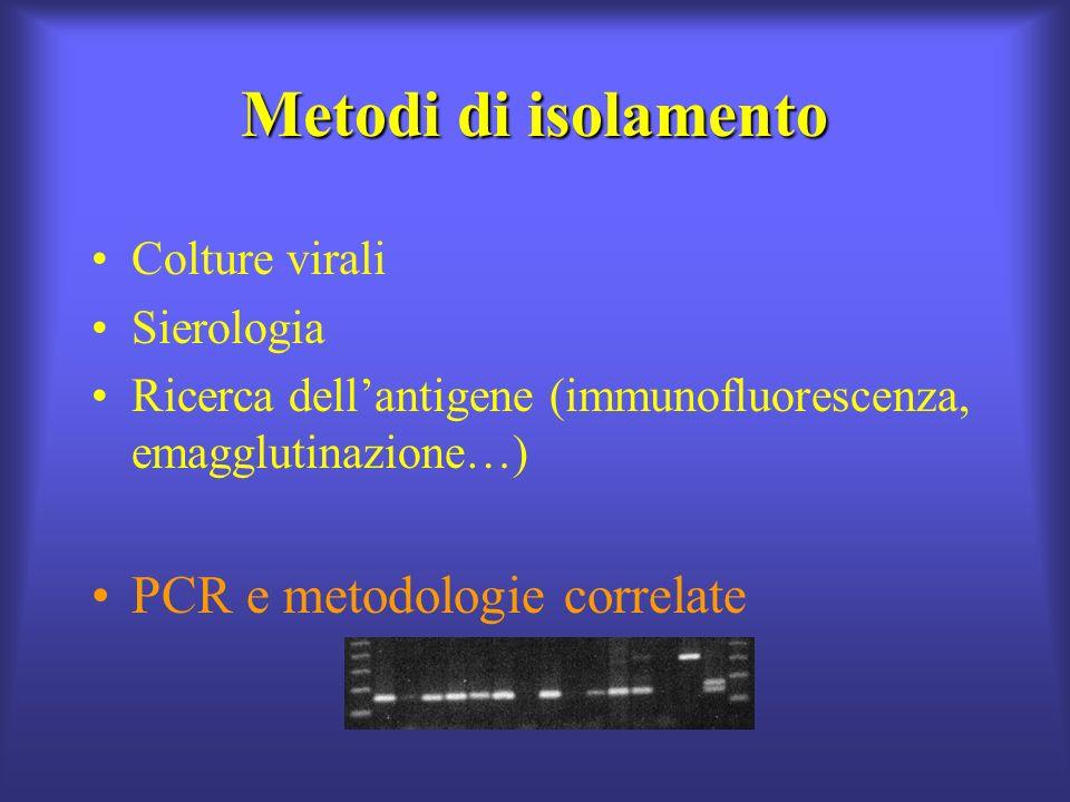 Metodi di isolamento Colture virali Sierologia Ricerca dellantigene (immunofluorescenza, emagglutinazione…) PCR e metodologie correlate