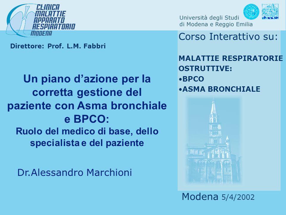 Global Initiative for Chronic Obstructive Lung Disease Terapia steroidea orale (2 settimane) Spirometria Miglioramento significativo del FEV1 Non modificazione del FEV1 Trattare come asma Trattare come BPCO TRATTAMENTO STEROIDEO E DUBBI DIAGNOSTICI