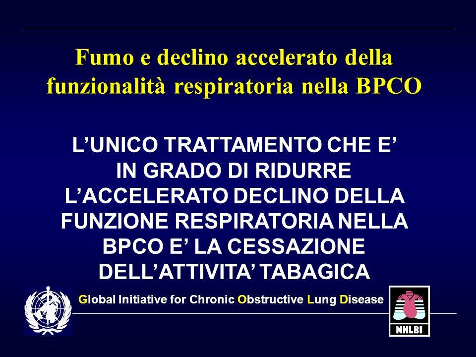 Fumo e declino accelerato della funzionalità respiratoria nella BPCO FEV 1 Age (years) Disability Death Never smoked or not susceptible to smoke Smoke