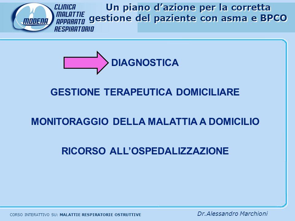 Un piano dazione per la corretta gestione del paziente con Asma bronchiale e BPCO: Ruolo del medico di base, dello specialista e del paziente MONITORAGGIO DELLA MALATTIA A DOMICILIO Medico di MMGSpecialistaBPCOAsma ASMA BRONCHIALE La severità della patologia e il monitoraggio si basano sulla sintomatologia, i rilievi clinici e semplici esami funzionali PEFSintomi e clinica MODULAZIONE DELLA TERAPIA FARMACOLOGICA