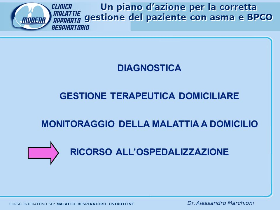Medico di MMG Visite domiciliari settimanali Trattamento iniziale riacutizzazioniValutazione con pulsossimetria (?) Sonnolenza indica encefalopatia ip