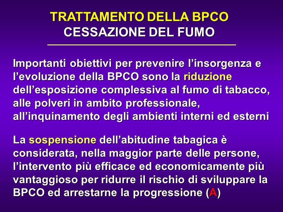 Importanti obiettivi per prevenire linsorgenza e levoluzione della BPCO sono la riduzione dellesposizione complessiva al fumo di tabacco, alle polveri