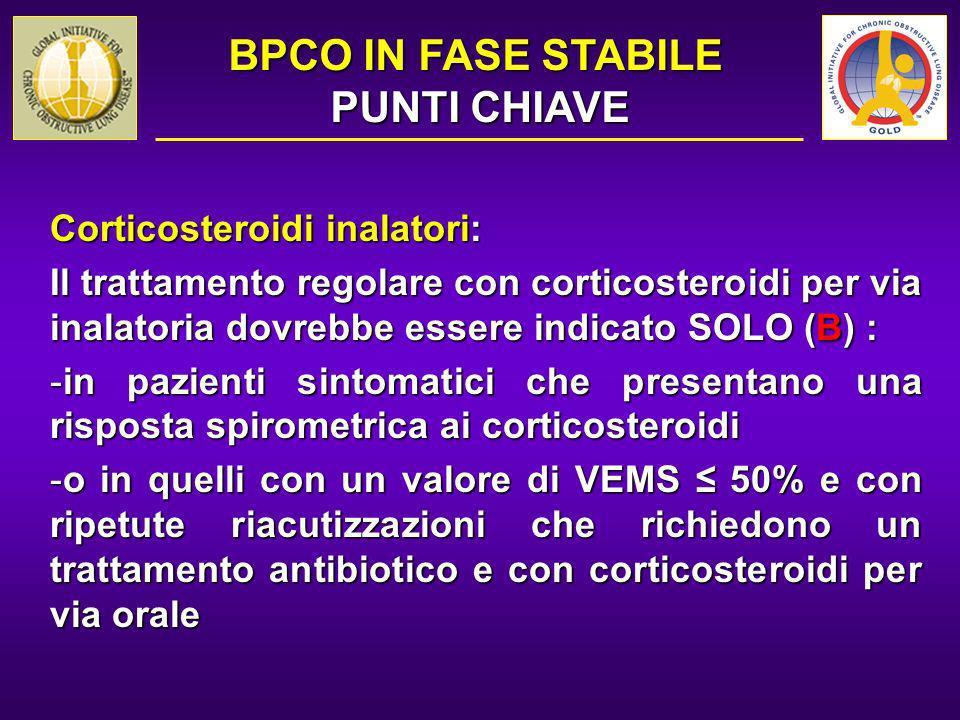 Corticosteroidi inalatori: Il trattamento regolare con corticosteroidi per via inalatoria dovrebbe essere indicato SOLO (B) : -in pazienti sintomatici