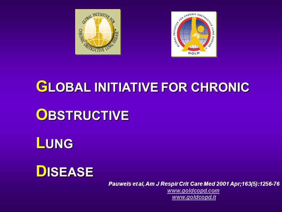 G LOBAL INITIATIVE FOR CHRONIC O BSTRUCTIVE L UNG D ISEASE Pauwels et al, Am J Respir Crit Care Med 2001 Apr;163(5):1256-76 www.goldcopd.com www.goldc