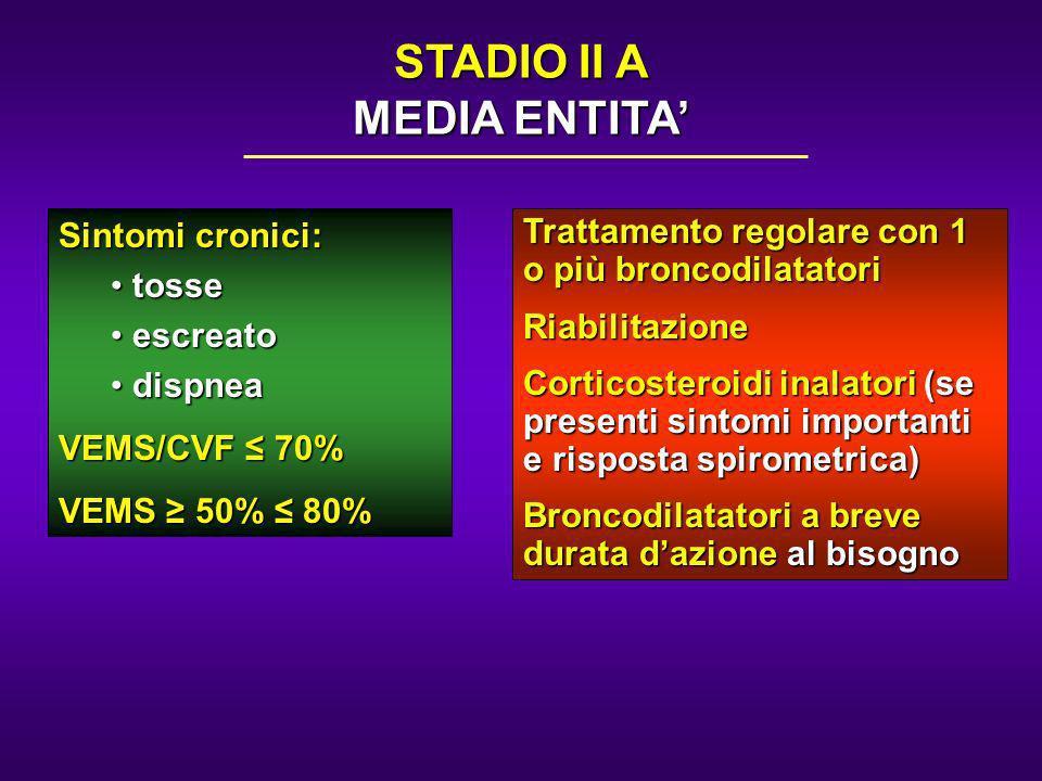 Sintomi cronici: tosse tosse escreato escreato dispnea dispnea VEMS/CVF 70% VEMS 50% 80% Trattamento regolare con 1 o più broncodilatatori Riabilitazi