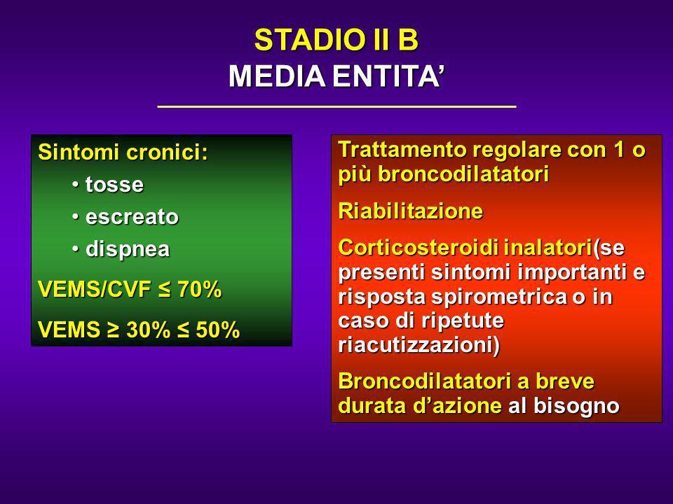 Sintomi cronici: tosse tosse escreato escreato dispnea dispnea VEMS/CVF 70% VEMS 30% 50% Trattamento regolare con 1 o più broncodilatatori Riabilitazi
