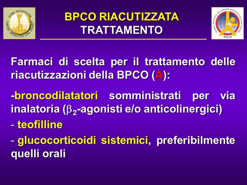 Farmaci di scelta per il trattamento delle riacutizzazioni della BPCO (A): -broncodilatatori somministrati per via inalatoria ( 2 -agonisti e/o antico