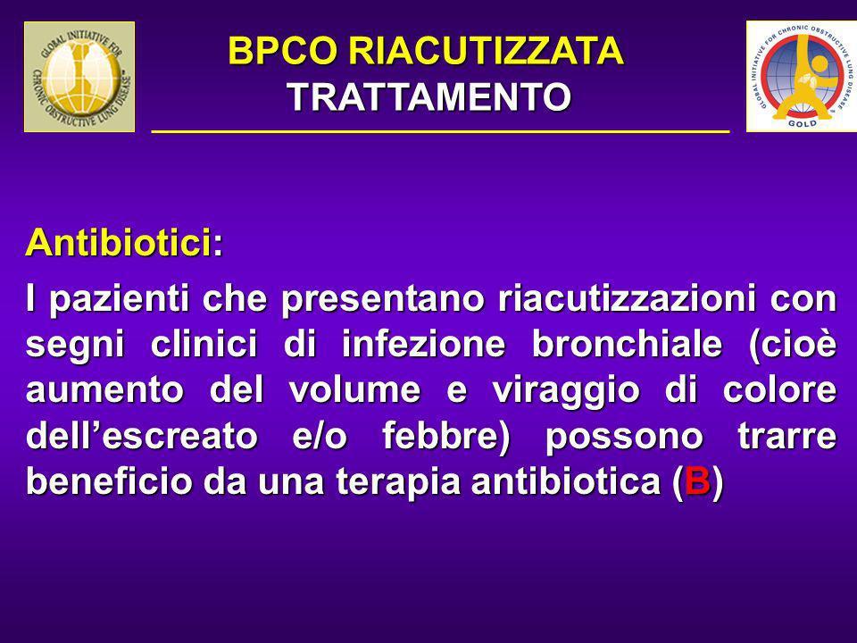 Antibiotici: I pazienti che presentano riacutizzazioni con segni clinici di infezione bronchiale (cioè aumento del volume e viraggio di colore dellesc