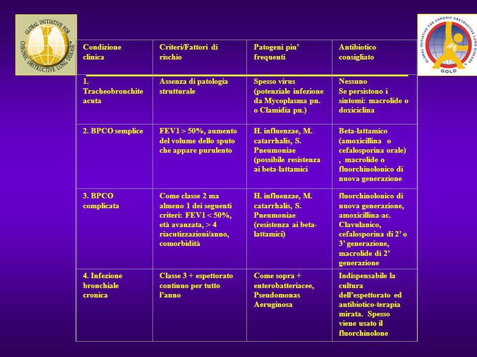 Condizione clinica Criteri/Fattori di rischio Patogeni piu frequenti Antibiotico consigliato 1. Tracheobronchite acuta Assenza di patologia struttural