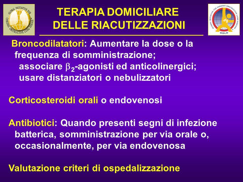 Broncodilatatori: Aumentare la dose o la frequenza di somministrazione; associare 2 -agonisti ed anticolinergici; usare distanziatori o nebulizzatori