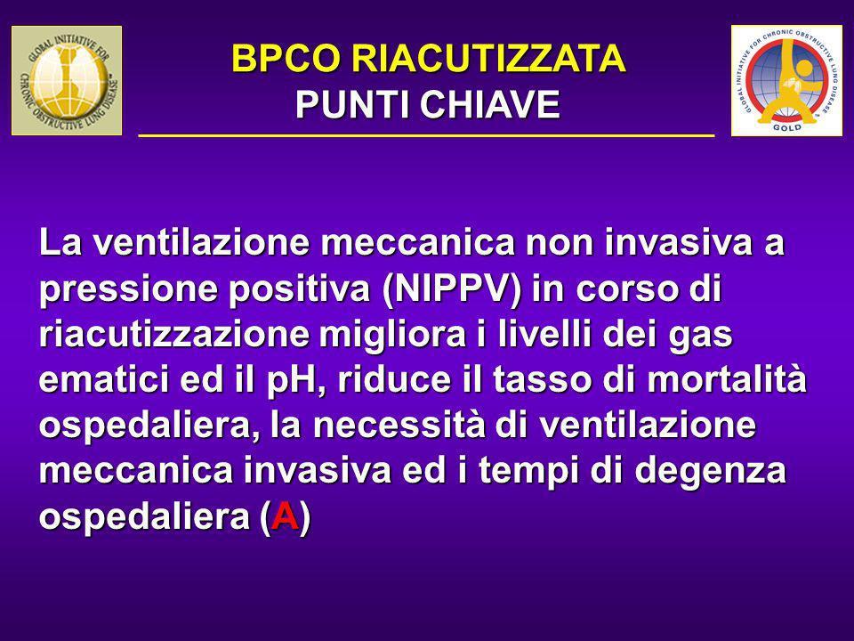 La ventilazione meccanica non invasiva a pressione positiva (NIPPV) in corso di riacutizzazione migliora i livelli dei gas ematici ed il pH, riduce il
