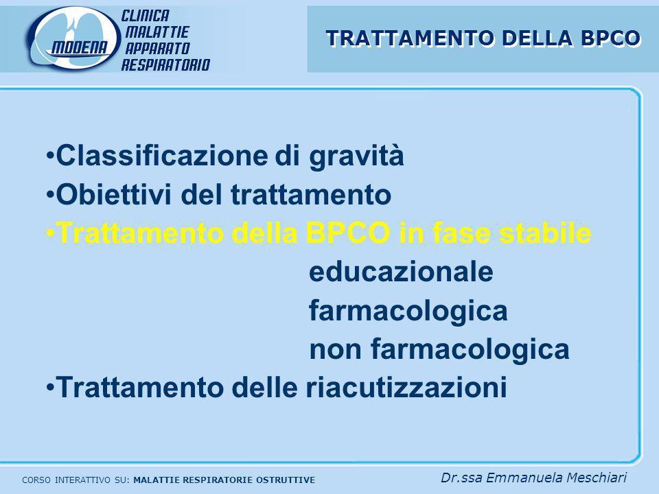 CORSO INTERATTIVO SU: MALATTIE RESPIRATORIE OSTRUTTIVE Dr.ssa Emmanuela Meschiari Classificazione di gravità Obiettivi del trattamento Trattamento del