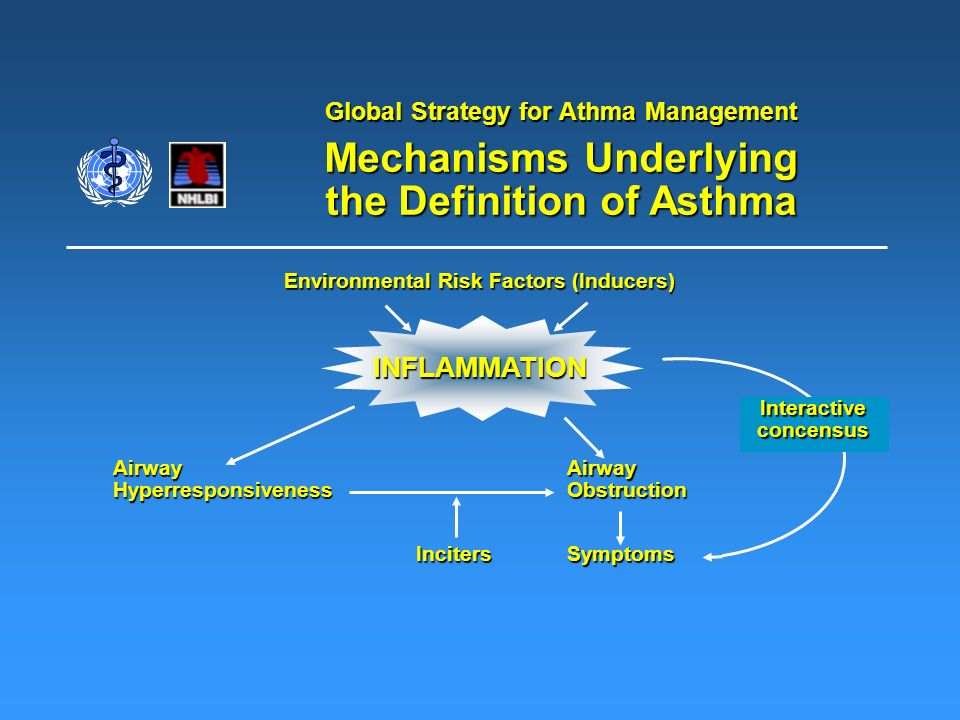 Global Strategy for Athma Management Mechanisms Underlying the Definition of Asthma Environmental Risk Factors (Inducers) INFLAMMATION AirwayHyperresp