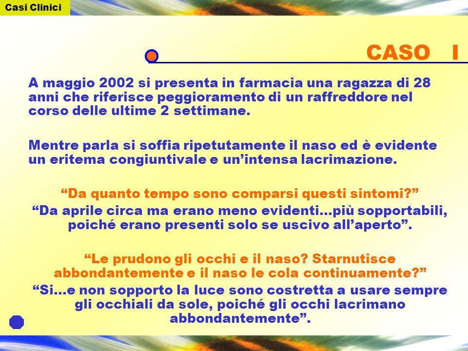 CASO I A maggio 2002 si presenta in farmacia una ragazza di 28 anni che riferisce peggioramento di un raffreddore nel corso delle ultime 2 settimane.