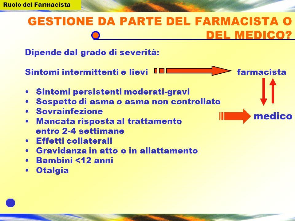 GESTIONE DA PARTE DEL FARMACISTA O DEL MEDICO.